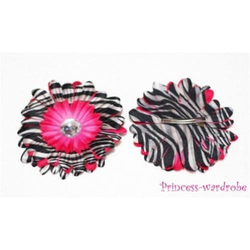 Hot Pink Zebra Crystal Daisy Hair Pin H101