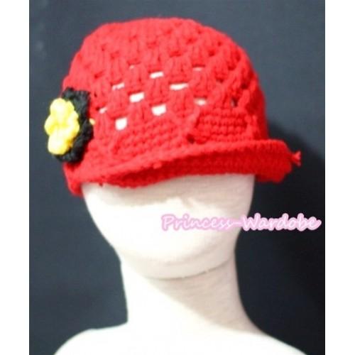 Sweety Style Big Sunshine Flower Hot Pink Crochet Beanie Hat HA51