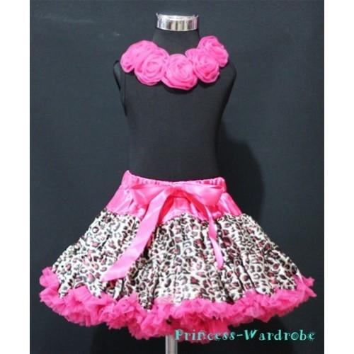 Black Tank Tops & Hot Pink Rosettes With Hot Pink Leopard Print Pettiskirt M181