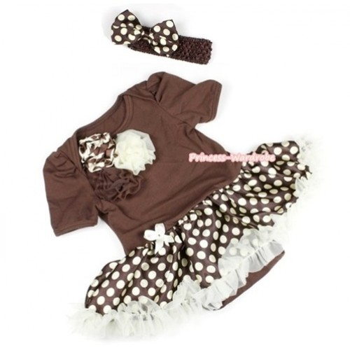 Brown Baby Jumpsuit Brown Golden Polka Dots Pettiskirt With Bunch Of Giraffe Brown Cream White Rosettes With Brown Headband Brown Golden Polka Dots Satin Bow JS1089