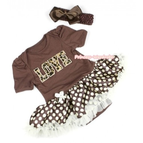 Brown Baby Jumpsuit Brown Golden Polka Dots Pettiskirt With Leopard Love Print With Brown Headband Brown Silk Bow JS1101