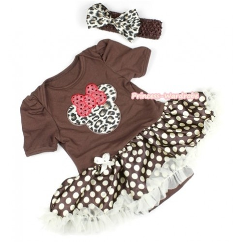 Brown Baby Jumpsuit Brown Golden Polka Dots Pettiskirt With Leopard Minnie Print With Brown Headband Leopard Satin Bow JS1102