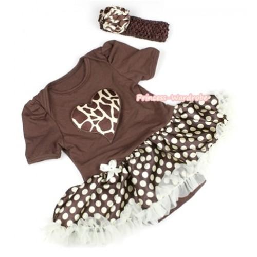 Brown Baby Jumpsuit Brown Golden Polka Dots Pettiskirt With Giraffe Heart Print With Brown Headband Giraffe Rose JS1105