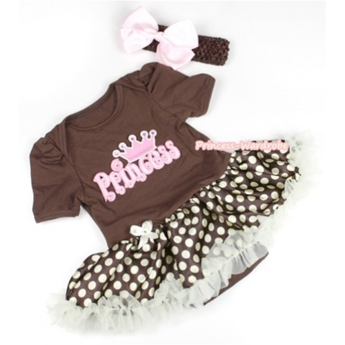 Brown Baby Jumpsuit Brown Golden Polka Dots Pettiskirt With Princess Print With Brown Headband Light Pink Silk Bow JS1109
