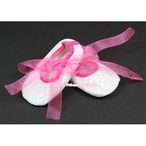 White Lace Crib Shoes With Hot Pink Ribbon S542