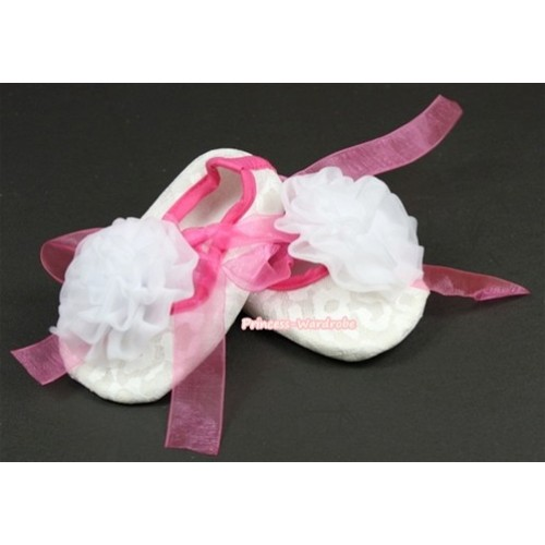 White Lace Crib Shoes With Hot Pink Ribbon With White Rose S545