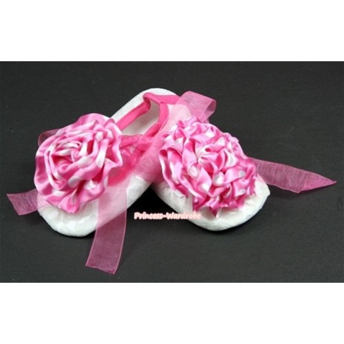 White Lace Crib Shoes With Hot Pink Ribbon With Hot Pink White Dots Rose S549