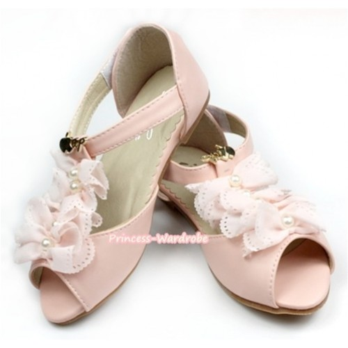 Light Pink Chiffon Open Toe Shoes AB-B600