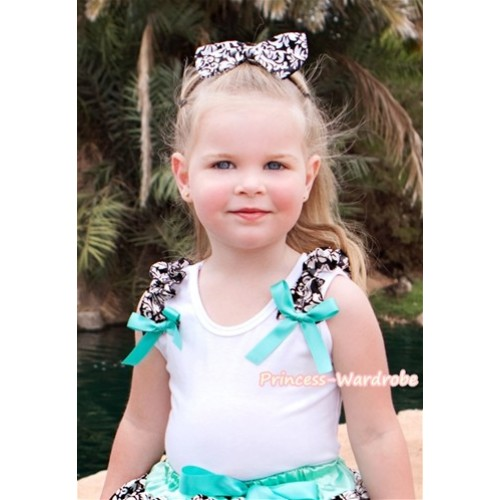 White Tank Top with Damask Ruffles and Aqua Blue Bow T494