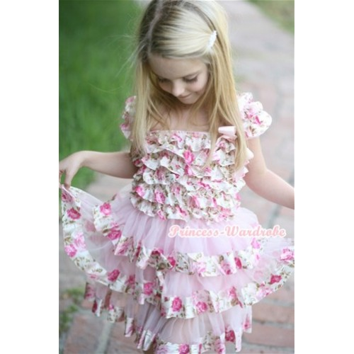 Light Pink Rose Fusion Satin Ruffles Layer One Piece Dress With Cap Sleeve With Light Pink Bow RD026