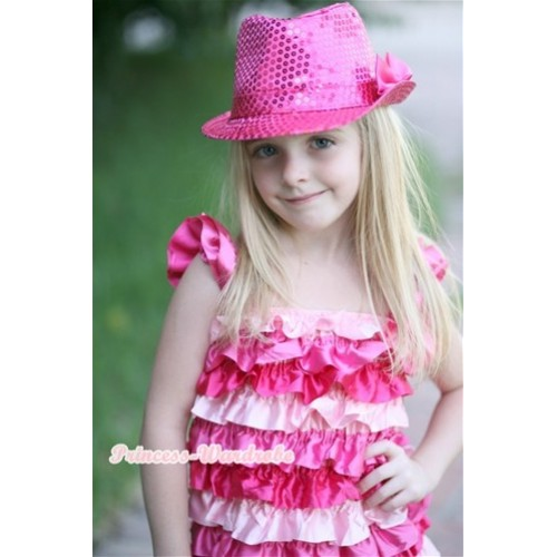 Hot Light Pink Satin Ruffles Layer One Piece Dress With Cap Sleeve With Hot Pink Bow With Sparkle Sequin Hot Pink Jazz Hat With Hot Pink Satin Bow RD013-1