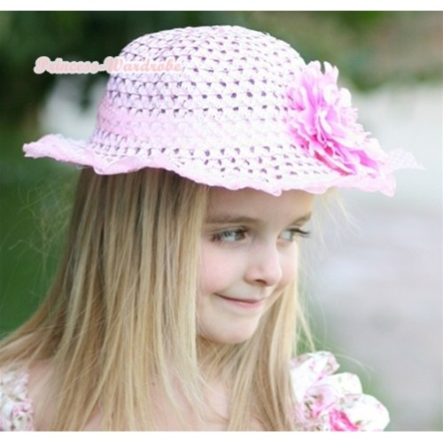Light Pink Sparkle Sequin Summer Beach Straw Hat With Light Pink Peony H644