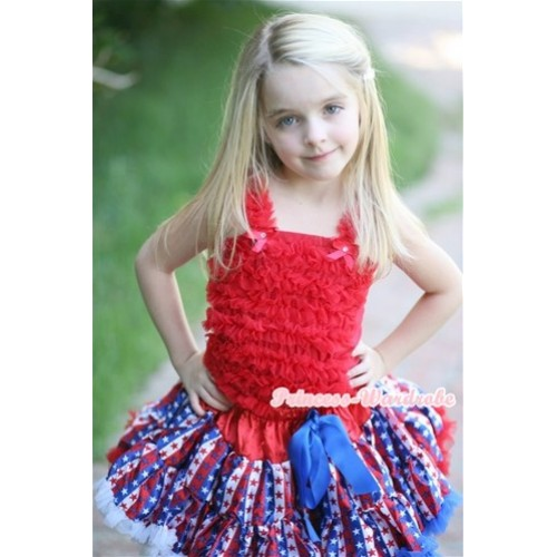 Red White Royal Blue Striped Stars Pettiskirt with Red Ruffles Tank Top MR230