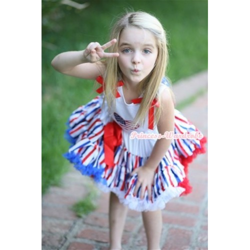 White Tank Top with Patriotic American Heart Print with American Stars Ruffles & Red Bow & Red White Blue Striped Pettiskirt MG633
