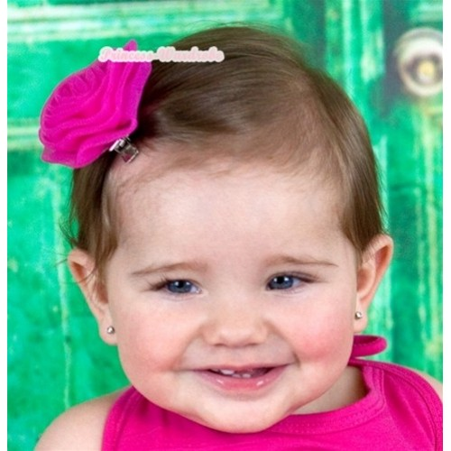 Hot Pink Rosettes Hair Pin H035