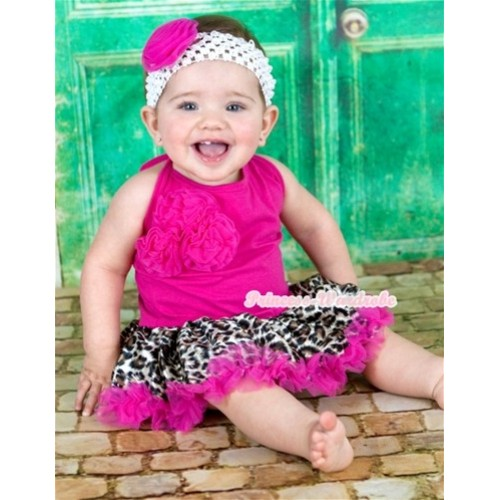 Hot Pink Baby Halter Jumpsuit Hot Pink Leopard Pettiskirt With Bunch Of Hot Pink Rosettes With White Headband Hot Pink Rose JS1111