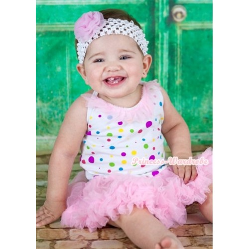 White Rainbow Dots Baby Halter Jumpsuit Light Pink Pettiskirt With Light Pink Chiffon Lacing With White Headband Light Pink Rose JS1112