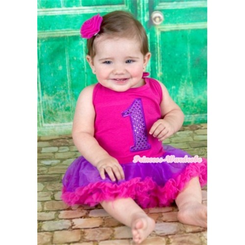 Hot Pink Baby Halter Jumpsuit Dark Purple Hot Pink Pettiskirt With 1st Sparkle Dark Purple Birthday Number Print With Hot Pink Rose JS1115
