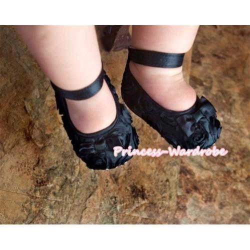 Baby Black Rosettes Crib Shoes S116