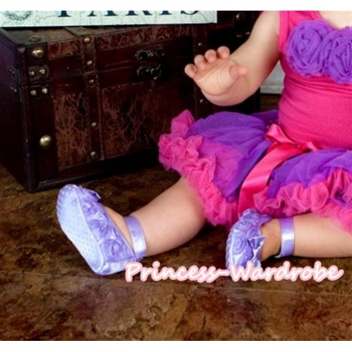 Baby Lavender Rosettes Crib Shoes S117