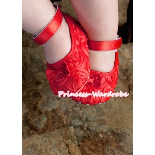 Baby Red Rosettes Crib Shoes S115