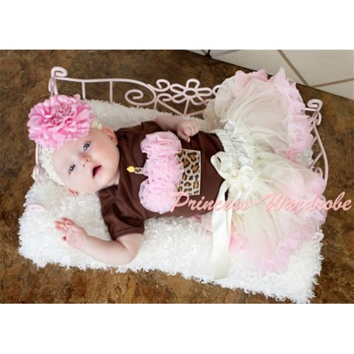 Brown Jumpsuit & Leopard Birthday Cake & Light Pink Rosettes with Cream White Light Pink Baby Pettiskirt JN01