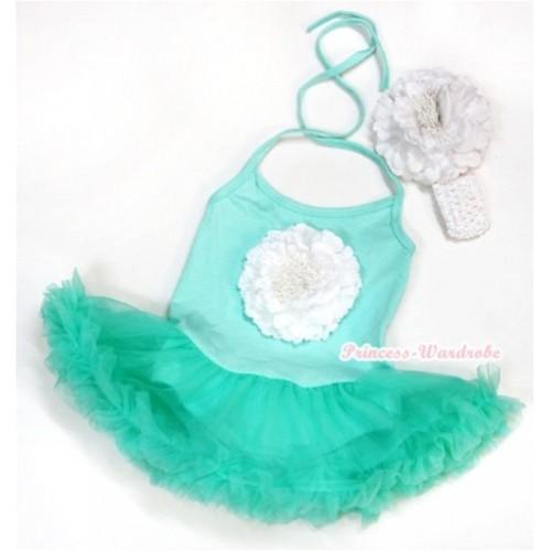 Aqua Blue Baby Halter Jumpsuit Aqua Blue Pettiskirt With White Peony With White Headband White Peony JS995