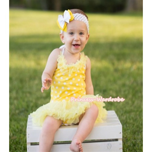 Yellow White Dots Baby Halter Jumpsuit Yellow Pettiskirt With Yellow Chiffon Lacing With Yellow Headband White Yellow Ribbon Bow JS1002