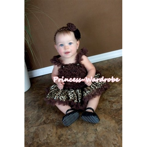 Brown Gold Leopard Pettiskirt with Brown Baby Ruffles Tank Top NR11