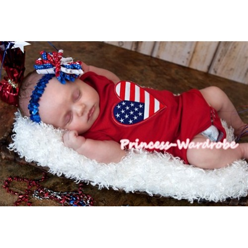Hot Red Baby Jumpsuit with American Heart Print TH113