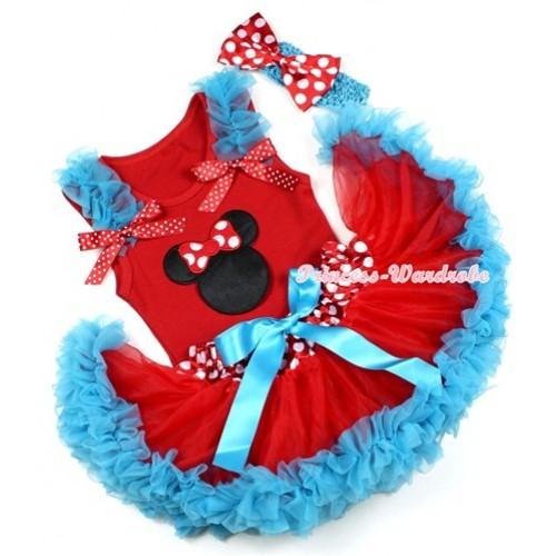 Red Baby Pettitop with Minnie Print with Peacock Blue Ruffles & Red White Dots Bows & Minnie Dots Waist Peacock Blue Newborn Pettiskirt With Peacock Blue Headband Minnie Dots Satin Bow NG1199