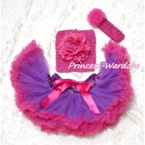 Purple Hot Pink Baby Pettiskirt, Hot Pink Peony Hot Pink Crochet Tube Top, Hot Pink Rose Headband 3PC Set CT118
