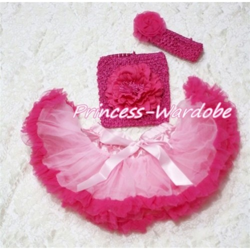 Light Hot Pink Baby Pettiskirt, Hot Pink Peony Hot Pink Crochet Tube Top, Hot Pink Rose Headband 3PC Set CT120