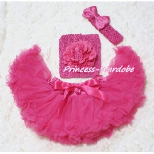Hot Pink Baby Pettiskirt, Hot Pink Peony Hot Pink Crochet Tube Top, Hot Pink Bow Headband 3PC Set CT121