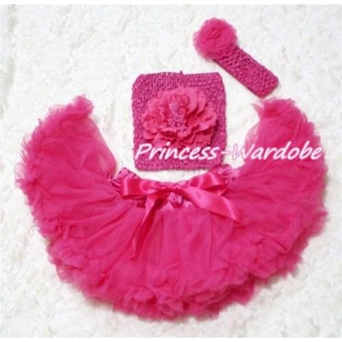 Hot Pink Baby Pettiskirt, Hot Pink Peony Hot Pink Crochet Tube Top, Hot Pink Rose Headband 3PC Set CT122