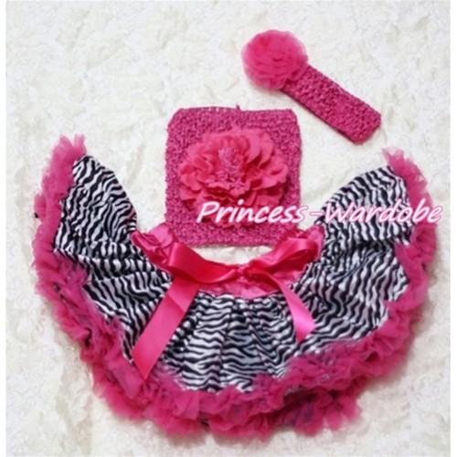 Hot Pink Zebra Baby Pettiskirt, Hot Pink Peony Hot Pink Crochet Tube Top, Hot Pink Rose Headband 3PC Set CT126