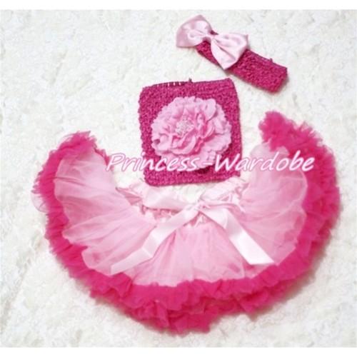 Light Hot Pink Baby Pettiskirt, Light Pink Peony Hot Pink Crochet Tube Top, Hot Pink Headband Light Pink Bow 3PC Set CT131