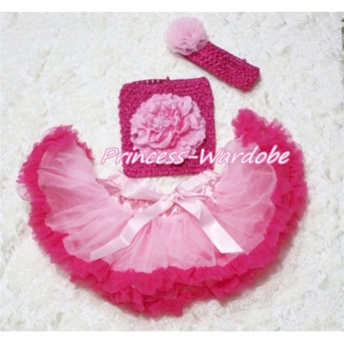 Light Hot Pink Baby Pettiskirt, Pink Peony Hot Pink Crochet Tube Top, Hot Pink Headband Light Pink Rose 3PC Set CT132