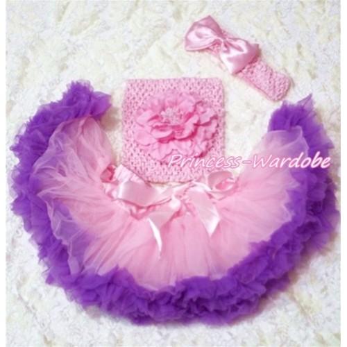 Light Pink Purple Baby Pettiskirt, Pink Peony Pink Crochet Tube Top, Pink Bow Headband 3PC Set CT133