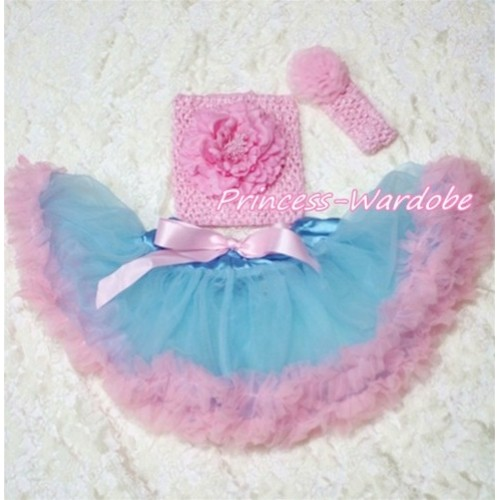 Blue Pink Baby Pettiskirt, Light Pink Peony Pink Crochet Tube Top, Light Pink Rose Headband 3PC Set CT136