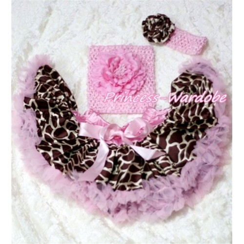 Light Pink Giraffe Baby Pettiskirt, Pink Peony Pink Crochet Tube Top, Pink Headband Giraffe Rose 3PC Set CT146