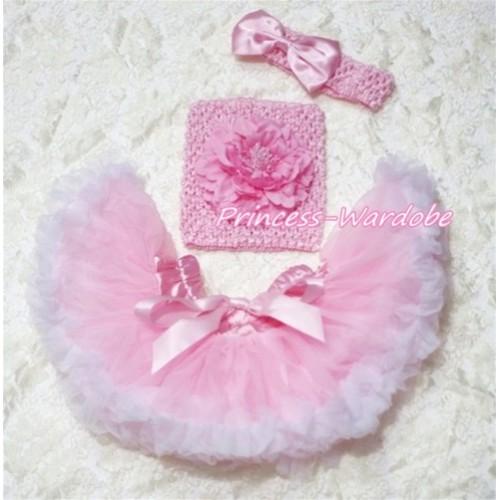 Pink White Baby Pettiskirt, Pink Peony Pink Crochet Tube Top, Pink Bow Headband 3PC Set CT152