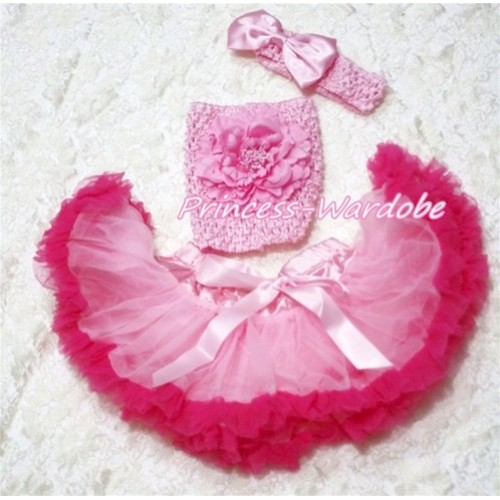 Light Hot Pink Baby Pettiskirt, Pink Peony Pink Crochet Tube Top, Pink Bow Headband 3PC Set CT156