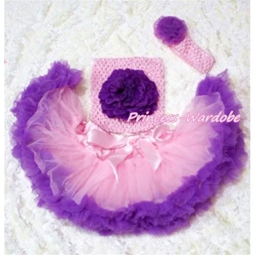 Light Pink Purple Baby Pettiskirt, Purple Peony Pink Crochet Tube Top, Pink Headband Purple Rose 3PC Set CT159