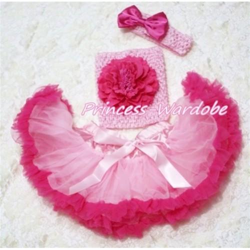 Light Hot Pink Baby Pettiskirt, Hot Pink Peony Pink Crochet Tube Top, Pink Headband Hot PInk Bow 3PC Set CT163