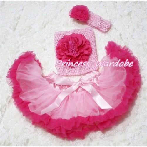 Light Hot Pink Baby Pettiskirt, Hot Pink Peony Pink Crochet Tube Top, Pink Headband Hot PInk Rose 3PC Set CT164