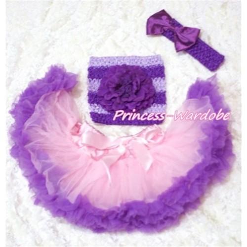 Light Pink Purple Baby Pettiskirt, Purple Peony Mixed Purples Crochet Tube Top, Purple Bow Headband 3PC Set CT165