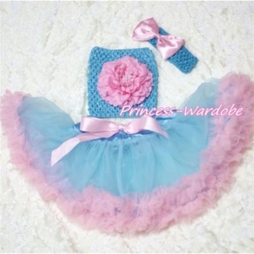 Blue Pink Baby Pettiskirt, Pink Peony Blue Crochet Tube Top, Blue Headband Pink Bow 3PC Set CT167