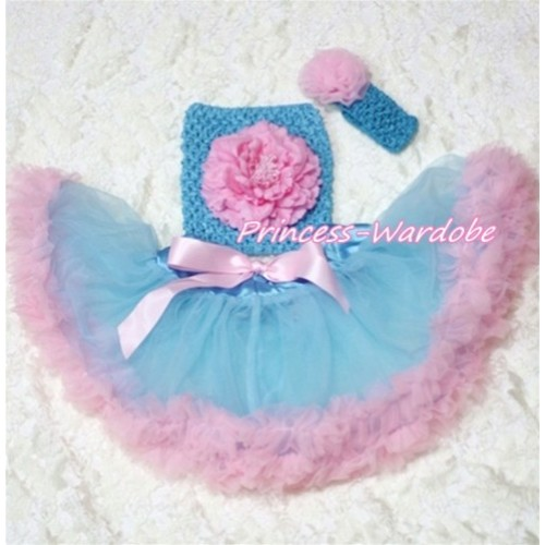 Blue Pink Baby Pettiskirt, Pink Peony Blue Crochet Tube Top, Blue Headband Pink Rose 3PC Set CT168