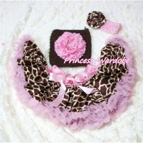 Pink Giraffe Baby Pettiskirt, Pink Peony Brown Crochet Tube Top, Pink Giraffe Rose Headband 3PC Set CT169